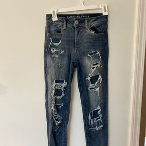 American Eagle distressed patchwork jeans